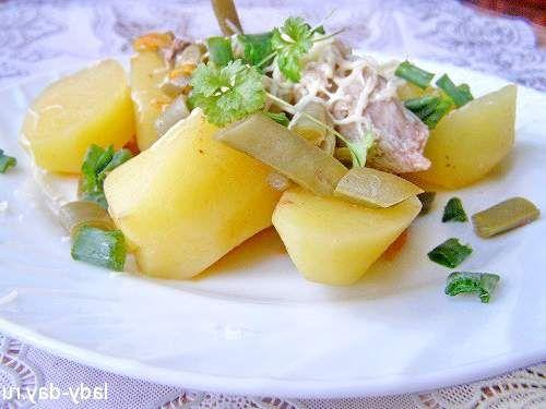 Тушкована картопля з м'ясом